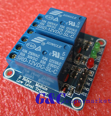 10pcs 12v 2 Channel Relay Module Indicator Light LED Arduino PIC ARM DSP AVR NEW