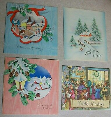 Vintage Christmas Card Lot Town People w/ Gifts Group Snow Capped Homes Village