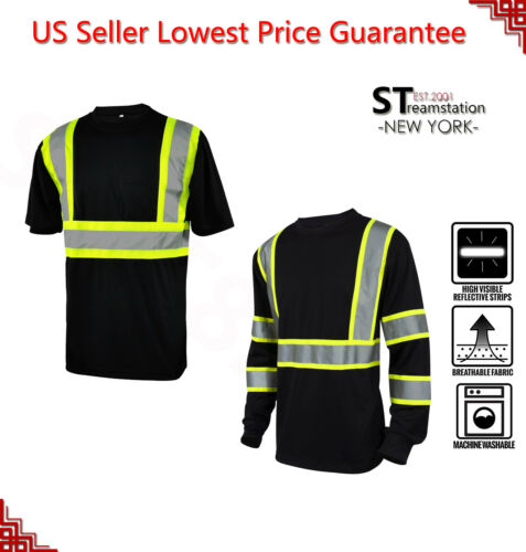 L&M Hi Vis T Shirt Reflective Safety Black Short Long Sleeve HIGH Visibility