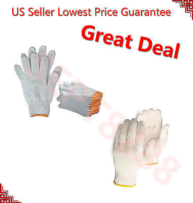 WHOLESALE 300 PAIRS WHITE POLY COTTON STRING KNIT WORK SAFETY GLOVES Size M - L