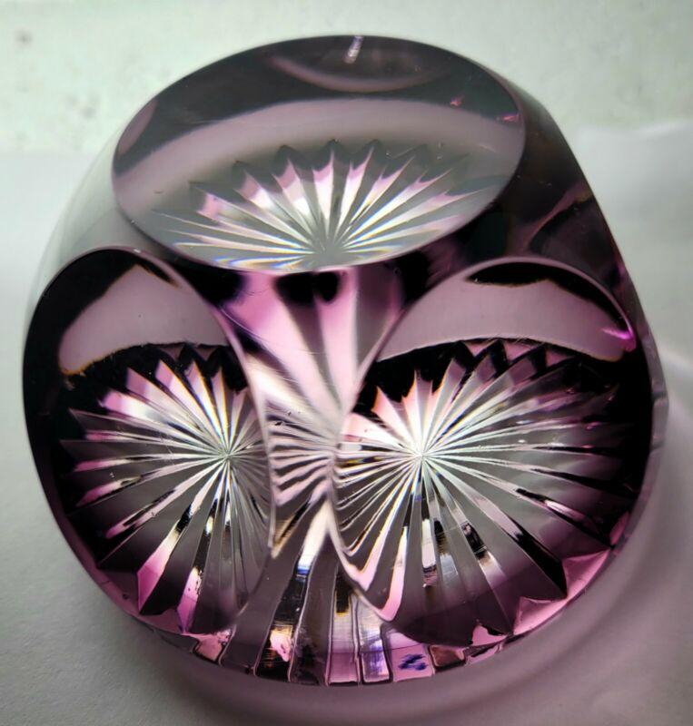 Thomas Webb Corbett Amethyst Crystal Art Glass Paperweight Mid Century Stunning!