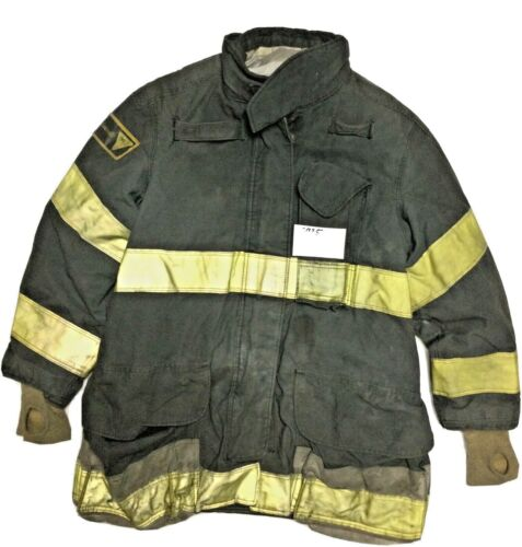48x35  Janesville Lion Firefighter Black Turnout Jacket with Yellow Stripes J935