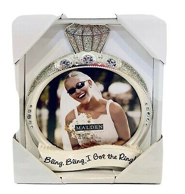 Wedding Engagement Picture Frame NIB Malden Int'l Designs Jewel Glitter Ring New Contemporary Design Wedding Ring