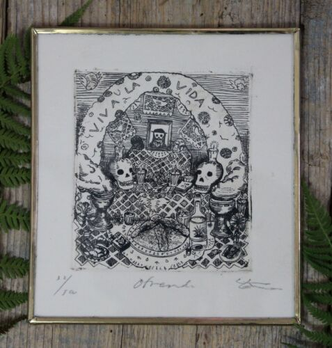 Day of the Dead Traditional Altar Brass Frame Etching by Abelar Mexican Folk Art