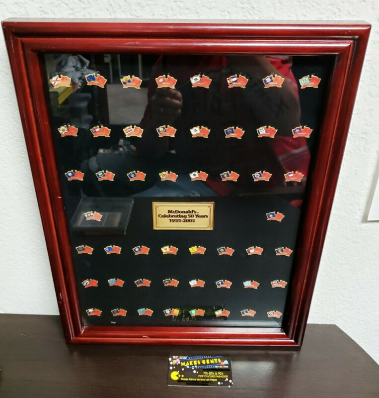 1955 - 2005 McDonalds 50 Years Commemorative Framed MC D - ALL 50 State Pins