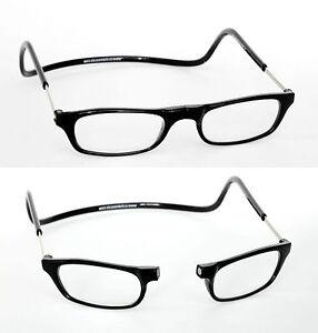 2 50 black magnetic reading glasses snap front neck