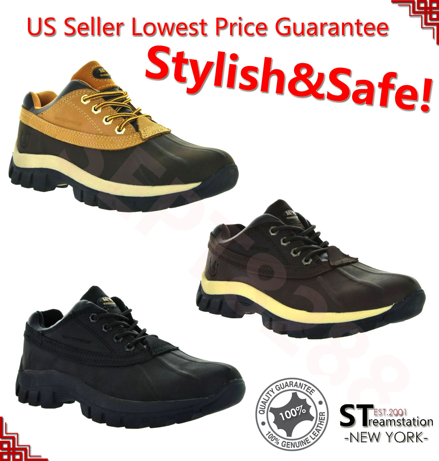 "Boots - Mens Work Boots 4"" Short Winter Snow Boots Work Shoes Leather Waterproof 3017"