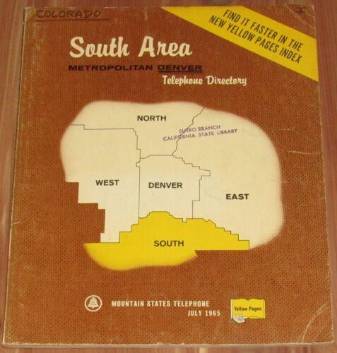 1965 COLORADO, SOUTH AREA TELEPHONE DIRECTORY, METRO DENVER, BOW MAR