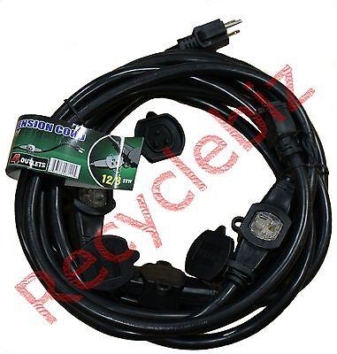 CBI Multi Outlet Extension Cord 25' 4 Outlet 12/3 12 Gauge (AWG) STW in Black