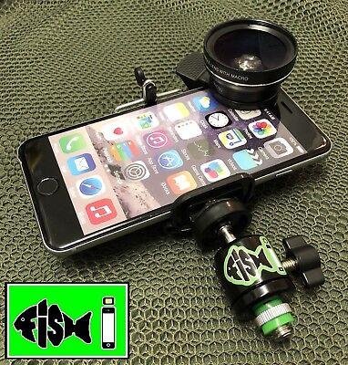 FiSH i Phone Holder & 0.45X HD Wide Angle Lens Kit. Phone Holder For Bankstick