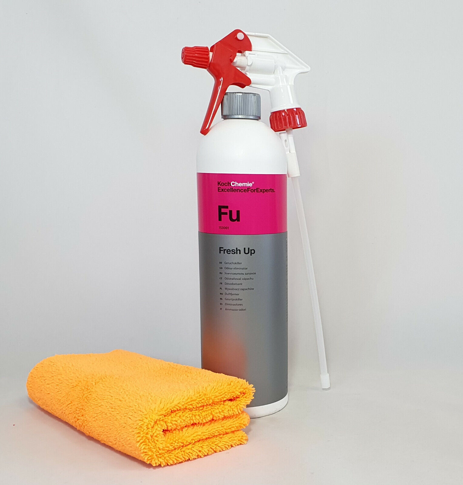 Koch Chemie Fresh Up Geruchskiller 1L. Sprühkopf Mikrofasertuch orange