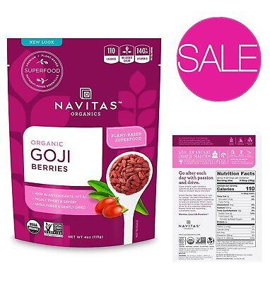 Navitas Goji Berries 100% Organic Sun-Dried Non-GMO Sulfite-Free w/ -