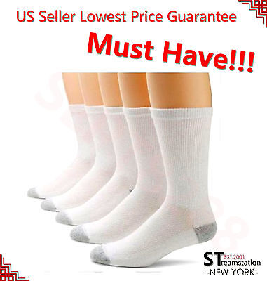 3,6,12 Pairs CREW Mens Solid Sports Socks Cotton 9-11 10-13 White LOT USA LONG ()