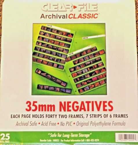 35 MM CLEAR FILE ARCHIVAL NEGATIVE PAGES (25 PACK) 7 STRIPS OF 6 FRAMES