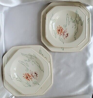 4 Mikasa Plates Water Lilies F4006 - 2 Sets: Dinner+Bowl Continental Ivory Ivory Water Lilies