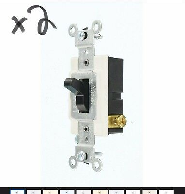 2- Leviton 20 Amp 3 Way Commercial Toggle Switch Light Control On Off Black