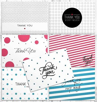 Thank You Cards Bulk for Wedding, Baptism & Baby Shower | 42 Greeting Note Cards