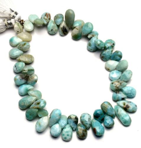 """Natural Gem Larimar 8x6 to 10x6MM Size Pear Shape Briolettes Beads 9"""" Strand"""
