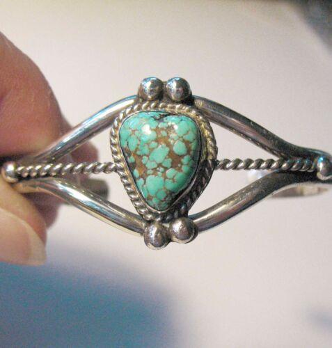 Vintage Navajo Sterling Silver Number #8 Turquoise Cuff Bracelet - Medium Size