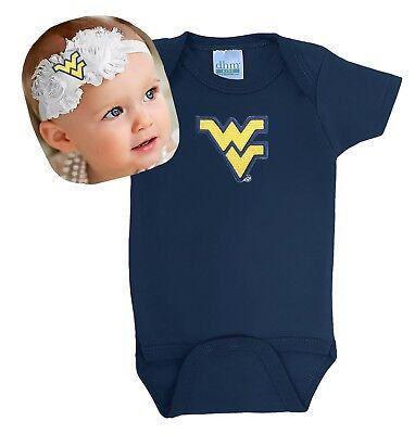 West Virginia Mountaineers Baby Bodysuit and Shabby Flower Headband Set
