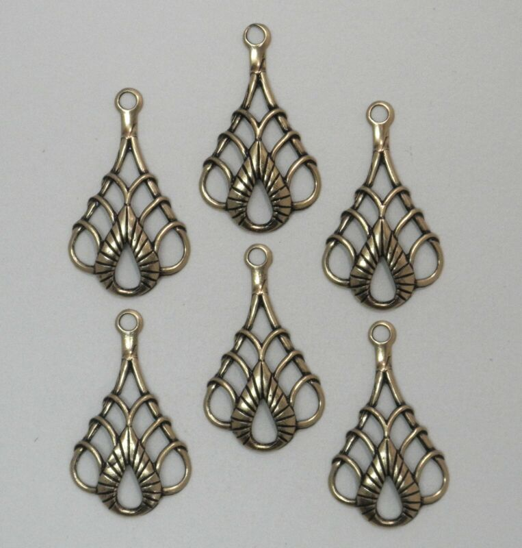 #3155 ANTIQUED GOLD CELTIC STYLE TEARDROP W/TOP HANG RING - 6 Pc Lot