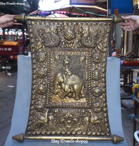 "31"" Old Tibet Bronze Gold Gilt Ride Elephant Buddha Foka Wall Hanging Statue"