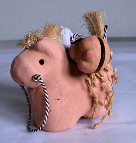 Japanese Old Clay Bell Dorei : design Okame And Hyottoko On Horse