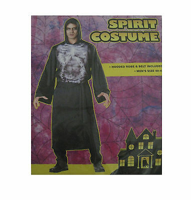 Spirit Skeleton Hooded Black Robe Adult Mens Halloween Costume ()