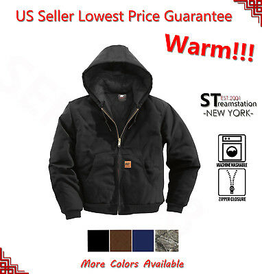 Men Sandstone Canvas Quilted Thermal Lined Duck Coat Winter Duck Work Jacket -