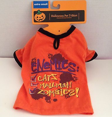 Bichon Frise Halloween Costumes (Dog Costume T Shirt Size XS Extra Small Enemies Zombies Halloween Tee)