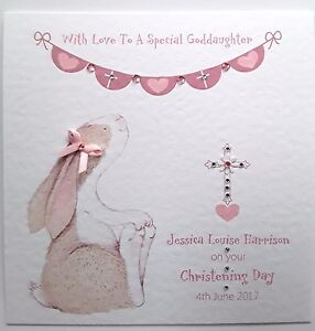 Personalised Girl Christening Card - Goddaughter, Granddaughter, Niece