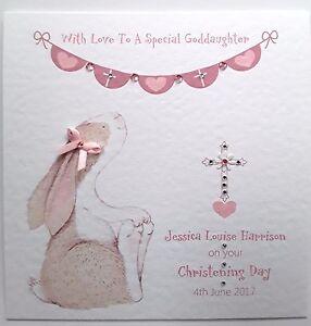 Handmade Personalised Girl Christening Card - Goddaughter, Granddaughter, Niece