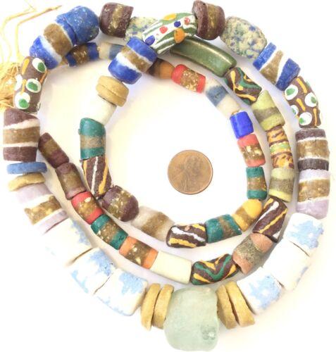 Mixed Handmade Ghana Powder-Glass African Trade beads-Ghana