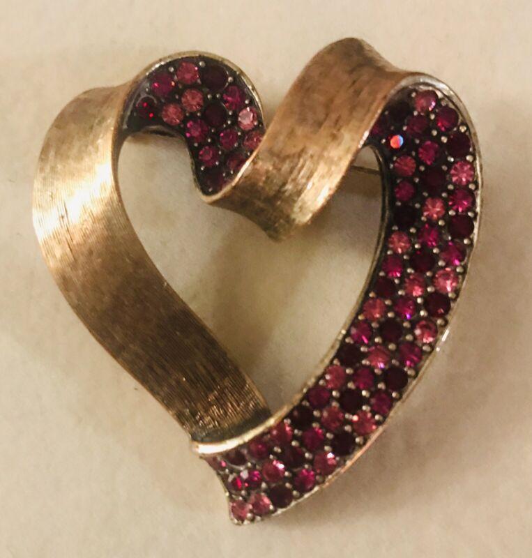 Rare Hobe Rhinestone Pink and Magenta Heart Pin
