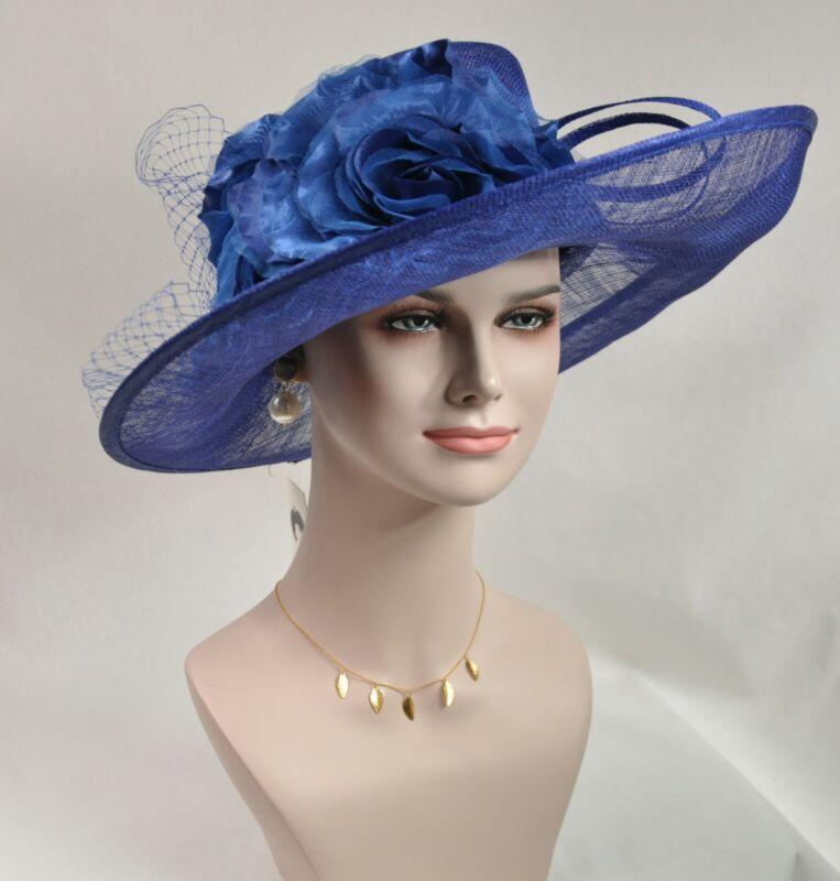 Royal Blue Kentucky Derby Church Wedding Easter Tea Party Wide Brim Sinamay Hat
