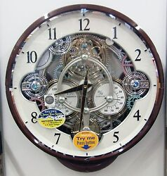 NEW RHYTHM MUSICAL MAGIC MOTION WALL CLOCK -WIDGET 4MH886WU23- MOVING. GEARS