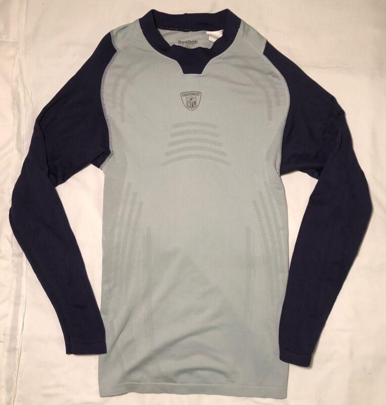 Reebok Boys Compression Shirt Youth Small Gray Blue NFL Equipment Long Sleeve