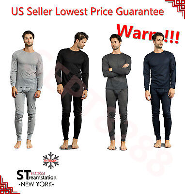 (Mens 2 pc Thermal Underwear Set Long Johns Cotton Knit Top Bottom)