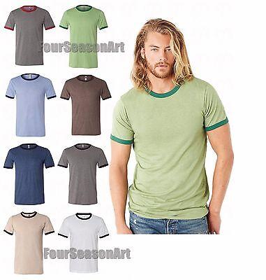 (Bella + Canvas Mens Heather Ringer Jersey T-Shirt Tee S M L XL 2XL 3055-3055C)