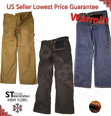 Cotton Fleece Pant (Mens Winter Cotton Fleece Lined Cargo Carpenter Work Pockets Long Pants)