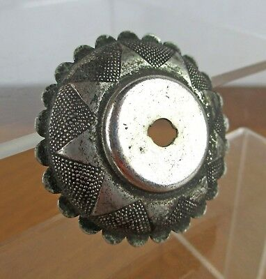 VTG Ornate Silver Metal Eastlake Drawer Pull Knob Backplate Washer Sun Flower