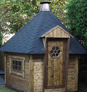 7m2 bbq hut cabin timber log cabin summer house for Garden hut sale