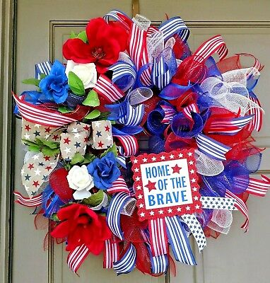 Patriotic 4th Of July Home Of The Brave Red White Blue Deco Mesh Rose Wreath