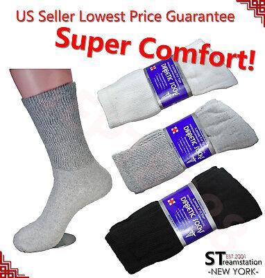 3,6,12 Pairs Diabetic Socks Crew Circulatory Socks Health Cotton Loose Fit Top Cotton Diabetic Crew Socks