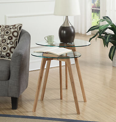 Clearview Nesting End Tables R4-0242, Natural / Glass Finish