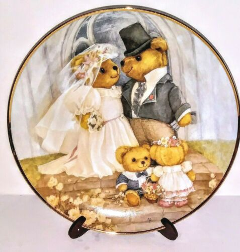 """Franklin Mint Heirloom Collection 8"""" Plate """"JUST MARRIED"""" New"""