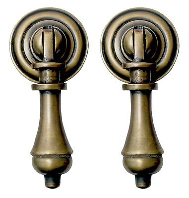 Brass Drop - Solid Brass Cudgel Tear Drop Drawer Door Pull Handle Set of 2