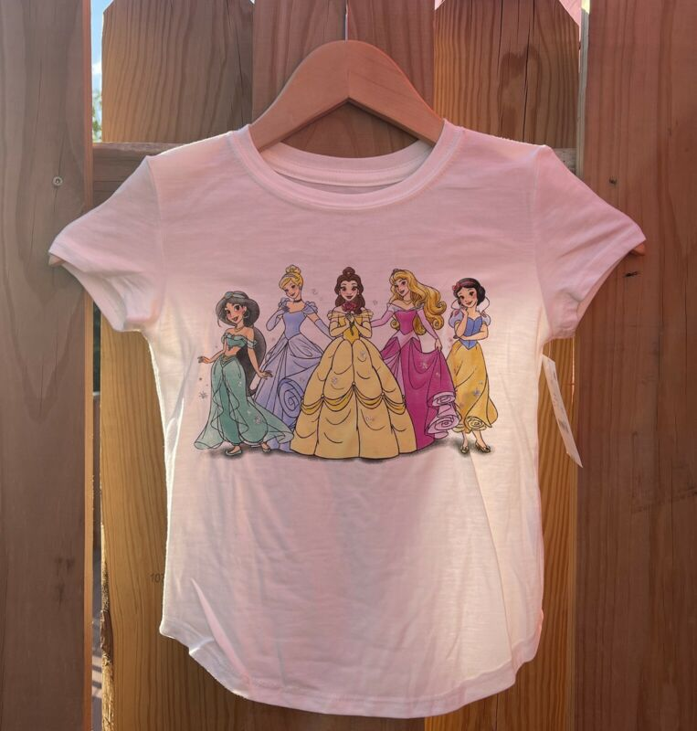 Size 5T Toddler Girls Disney Princess White T Shirt NEW WITH TAGS NWT Cinderella