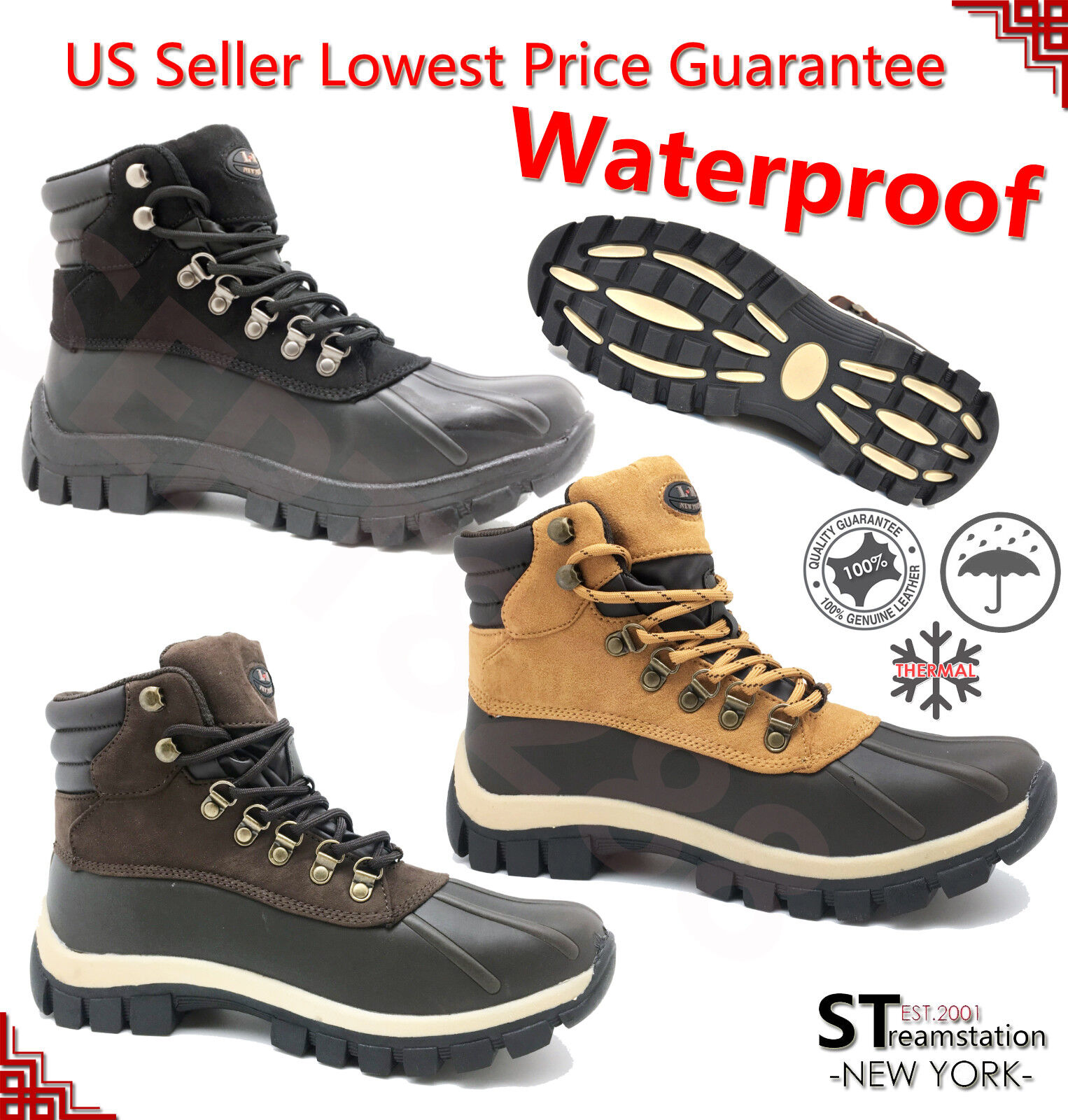 Boots - LM Men's Winter Snow Insulated Warm Boots Work Boots Leather Waterproof 2017