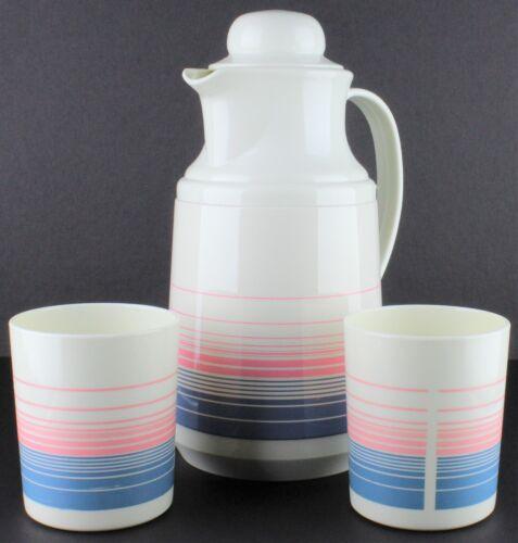 Vintage Drink Serving Set - Phoenix Thermal Pitcher & Cups Pink Blue Stripped